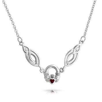 Celtic Trinity Claddagh Red Garnet Pendant Sterling Silver Necklace