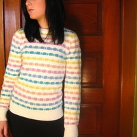 Vintage Sweater Cute Knit Rainbow Striped Small
