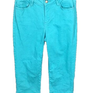 Not Your Daughters Jeans Capris Rhinestone Bling Lift Tuck Teal Blue Womens 4 - Preowned