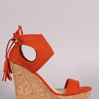 Qupid Suede Tie-Back Fish Scale Ankle Cuff Cork Platform Wedge