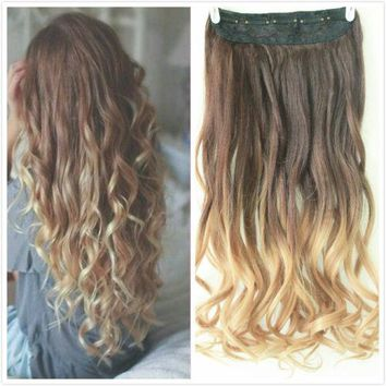 "22"" One Piece Straight Ombre Clip in Hair Extension 2 Tone natural black blonde"