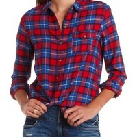 Long Sleeve Plaid Flannel Button-Up Top by Charlotte Russe - Red