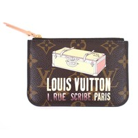 100% Authentic Louis Vuitton Monogram Trunk Valise Pochette Cles Key Coin Purse