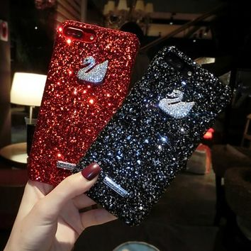iPhone 7Plus Phone cases For iPhone 7 Case 3D Glitter Bling Swan Rhinestone Shell Hard PC hard Case For iPhone 8 Case 8 Plus Cover