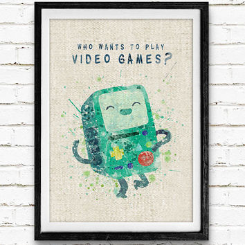 Adventure Time BMO Watercolor Art Print, Minimalist Art Print, Watercolor Poster, Watercolor Print, Home Decor, Not Framed, Buy 2 Get 1 Free