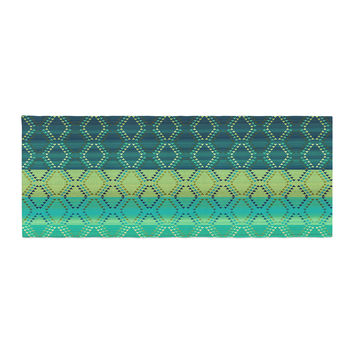"Nina May ""Denin Diamond Gradient Green"" Turquoise Emerald Bed Runner"