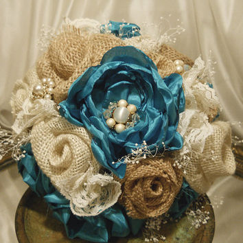 Burlap & Silk Turquoise Bridal Wedding Bouquet, handmade silk roses and burlap flowers.