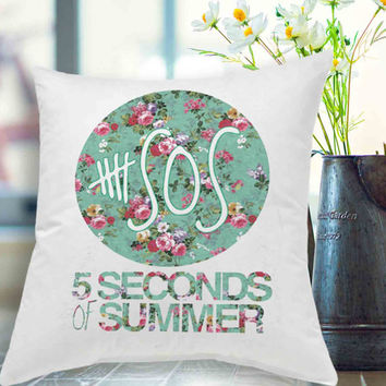 "5SOS - 5 Seconds of Summer Logo Floral Pillow Case # 18"" x 18"" , 16"" x 24"" , 20"" x 30"""