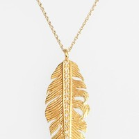 Women's Melinda Maria Large Feather Pendant Necklace - Gold/ Clear