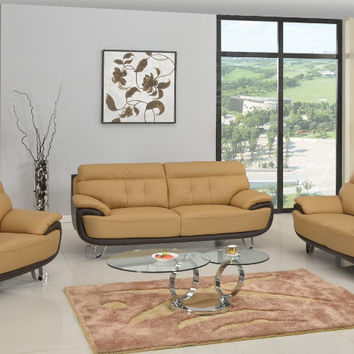 Global United A159-2PC 2 pc Shirley collection modern style two tone genuine leather upholstered sofa and love seat set