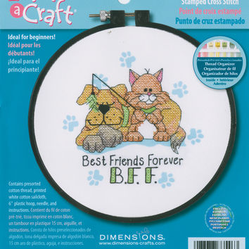 """Learn-A-Craft Best Friends Forever Stamped Cross Stitch Kit-6"""""""" Round"""