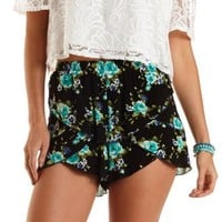 Layered Floral Print Tulip Shorts by Charlotte Russe