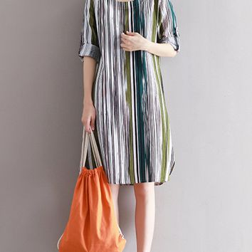 Streetstyle  Casual Round Neck Fantastic Vertical Striped Shift Dress
