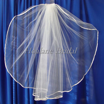 Veil, Ribbon edge veil, Waist length veil, one layer bridal veil