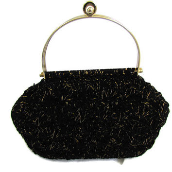 1960s Handbag Black Carpet Bag Crochet Purse Bag Mad Men Vintage Handbags Black Gold Handle Purse Bag Tapestry Bags I Love Lucy Costume