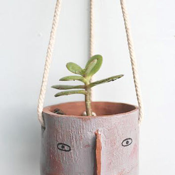 Ceramic Hanging Planter - 'Eve' Face by Megan Clarke