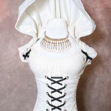 White Hooded Vixen Corset for Waist 33 to 35 by damselinthisdress
