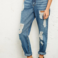 BDG Destroyed Mom Jeans Blue - Urban Outfitters