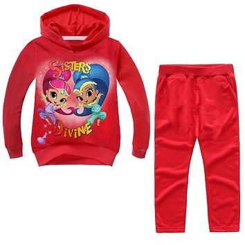 New Shimmer And Shine Sweatshirt Hoodies 2PCS Clothes Suit For Boy Girl Captain Underpants New Year's Clothing Costume Set