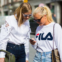 Fashion FILA Hot Sale Print Women Men SweaterShirt B-KWKWM White