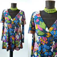 Vintage Micro Mini Dress Psychedelic Floral Corky Craig Jersey Tunic Size Small Twiggy Style