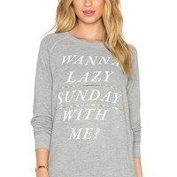 Junk Food Lazy Sunday Sweatshirt in Dove Heather Grey