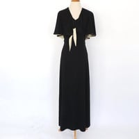 Vintage 1970's Gown Black Tan Cape Dress Maxi Summer Sundress Indie Festival Hippie Cape Top Goth Boho Macabre Long Prom Gown 70s SoCal
