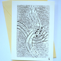 art card handmade , mono print, greeting card, artist card,black and white, OOAK, blank card, abstract