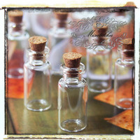 4 PCS (36mm x 16mm) 2ml Small Empty Glass Vials Jars Bottles Containers w Corks & Screw Eye Pins - Decoden Earrings Charms (SP.L36)