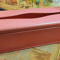 Vintage Hand Painted Ransburg Pink Tissue Holder