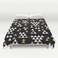 Glitter Triangles - scattered geometric triangles pattern in black gold white Duvet Cover by CharlotteWinter