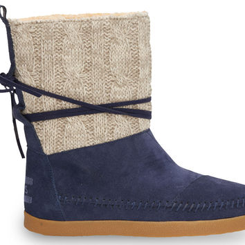 NAVY CABLE KNIT SUEDE WOMEN'S NEPAL BOOTS