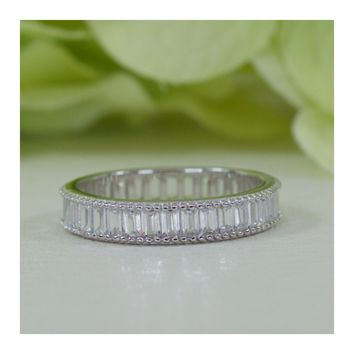 Emerald Cut Eternity Band Fine Quality Cubic Zirconia In 925 Sterling Silver