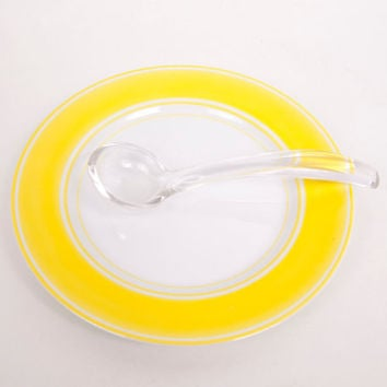 Vintage Fitz and Floyd Lemon Yellow Stripe Plate Rondelet Rouge Pattern Mayonnaise Spoon Glass Spoon Condiment Spoon