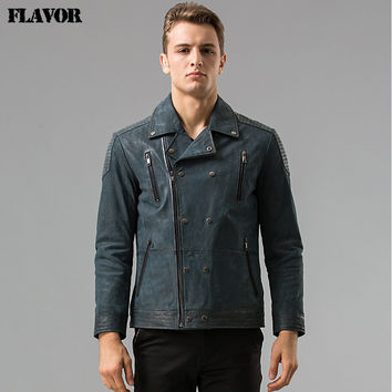 Men's Pigskin motorcycle real leather jacket Genuine Leather jacket Bomber jackets biker coat male