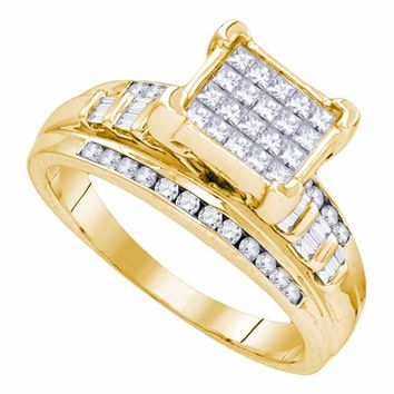 Yellow-tone Sterling Silver Womens Princess Diamond Square Cluster Bridal Wedding Engagement Ring 1.00 Cttw