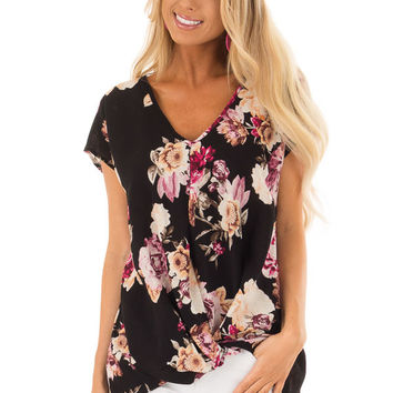 Black Floral Print Short Sleeve Top with Front Twist Detail