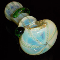 FREE SHIPPING Color Changing Large Glass Bowl - Spoon Style Smoking Pipe - Blue Teal Boro w/ Long Woven Ribbon Rods - Green Marble & Accent