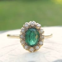 Antique Emerald Pearl Ring, Elegant and Sweet Halo Ring, Hand Engraved 1901, Lovely Condition, Victorian Era