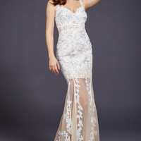 White Lace Applique Sheer Dress 32402