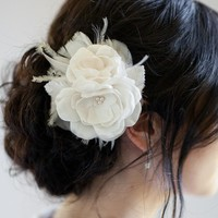 AUDRINA | Bridal Hair Accessories for the Vintage-Inspired Bride | Feather Accents and Double Flowers | Percy Handmade