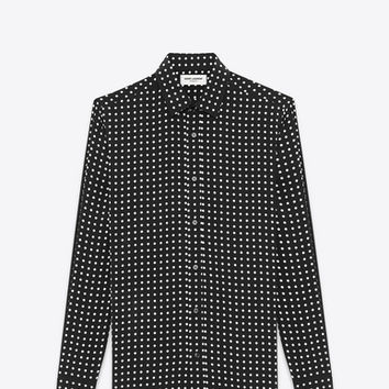 SIGNATURE YVES COLLAR SHIRT IN Black and White Polka Dot Printed Silk CRÊPE