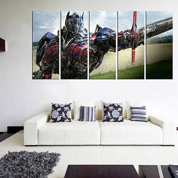 transformers decal canvas print, transformers wall art, megatron, optimus transformers movie poster, transformer art bedroom wall  11m40