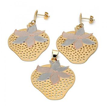 Gold Layered 5.050.006 Earring and Pendant Adult Set, Strawberry Design, Tri Tone