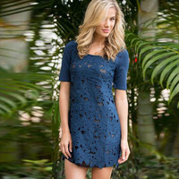 Women's Fashion Short Sleeve Patchwork Lace One Piece Dress [4970294596]