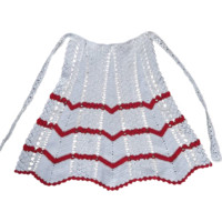 Apron Vintage Handmade Crocheted Cream with Red Zig Zags
