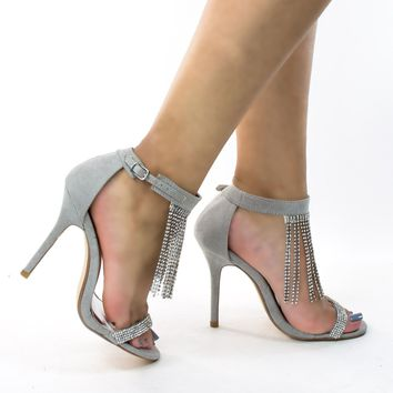 Adele203 Light Gray by Olivia Jaymes, Dragging Rhinestones Dress Sandal, Women's Evening Party / Prom Shoes