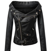 Fashion Women Leather Slim Off Shoulder Zipper Boat Neckline Outerwear Jacket Top a13186