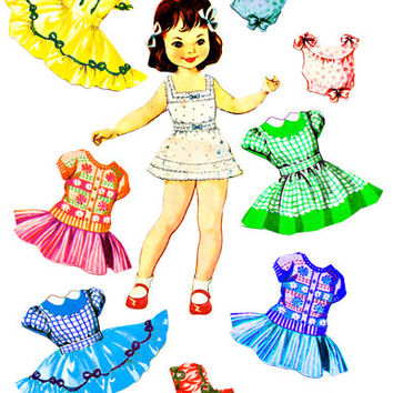 Little girl paper doll clothes set clip art collage sheet digital graphics childrens craft printables