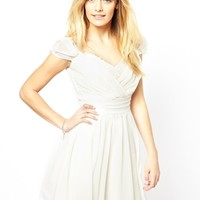 Lydia Bright Rose Dress with Lace Trim